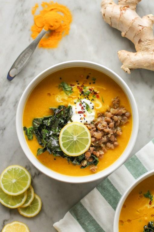 red lentil turmeric ginger soup one www.girlontherange.com