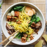 golden beet noodles with seared tofu and spicy coconut broth