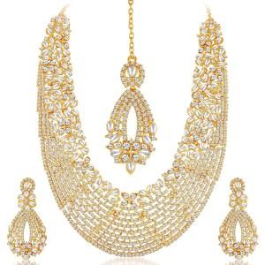 Gold Plated Wedding Jewellery Austrian Diamond & Kundan Long Haram Necklace Set