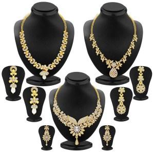 Sukkhi Dazzling Gold Plated Wedding Jewellery Austrian Diamond Choker Necklace Set Combo For Women
