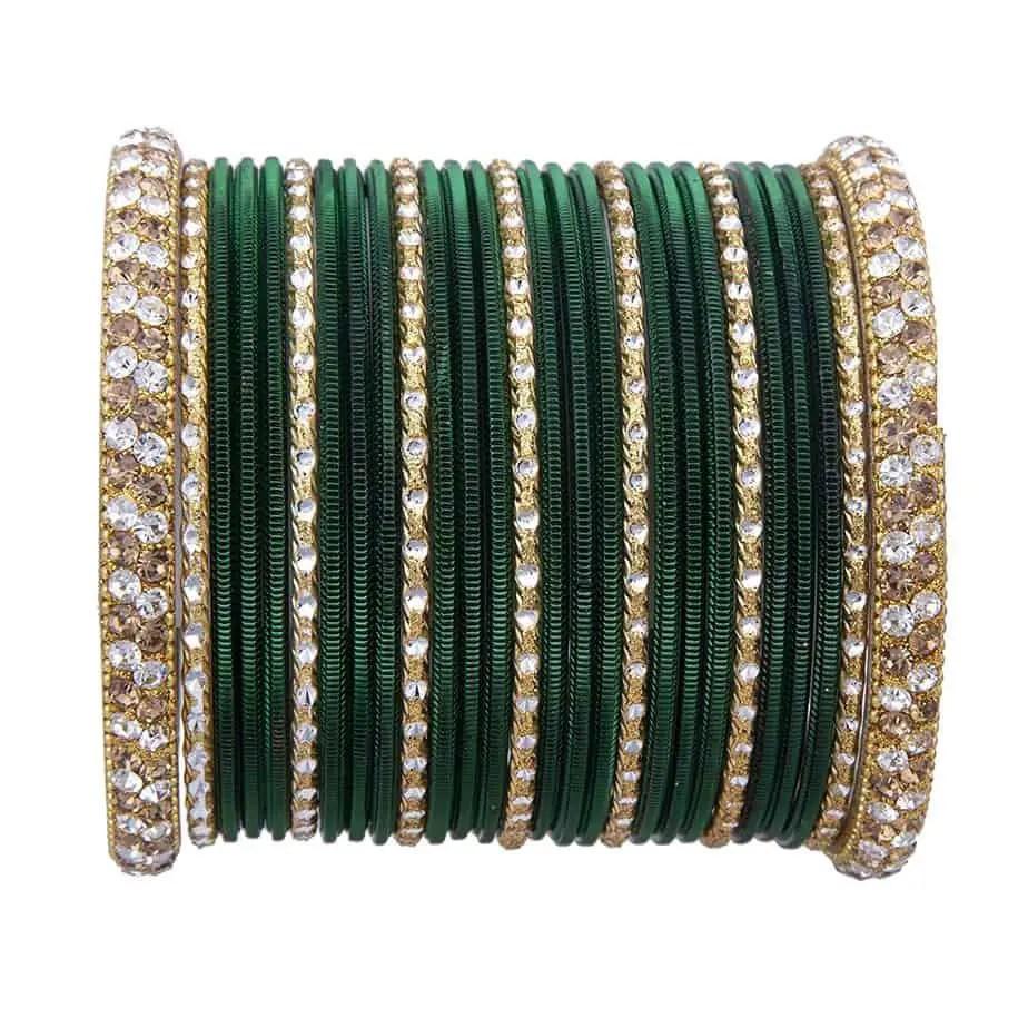 Chinar Jewels Bottle Green Golden Bangle Set