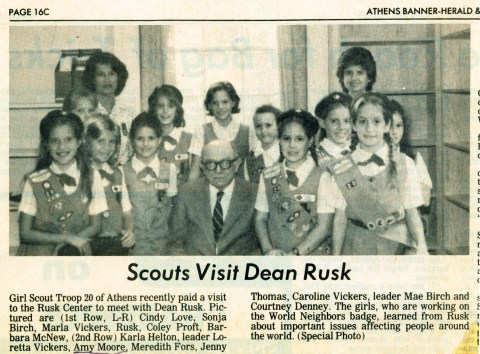Troop 20 Visits Dean Rusk
