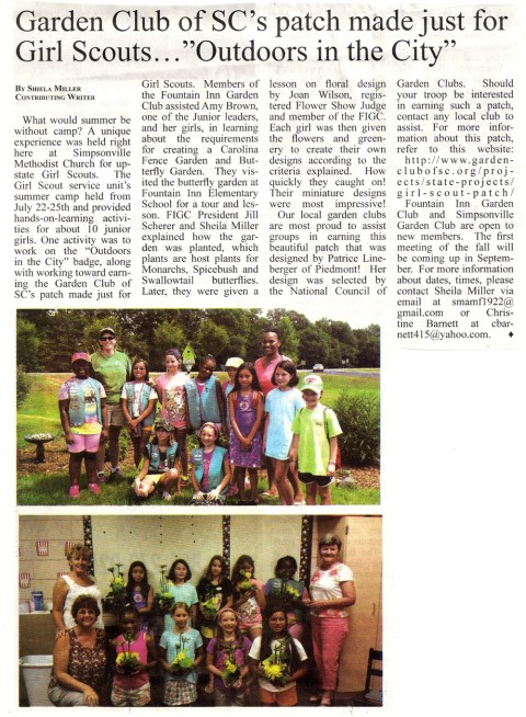 From the August 2015 issue of the Simpsonville Sentinel