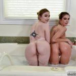 petite teens show their round butts in the bathtub