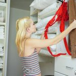 teen finds lingerie in the closet