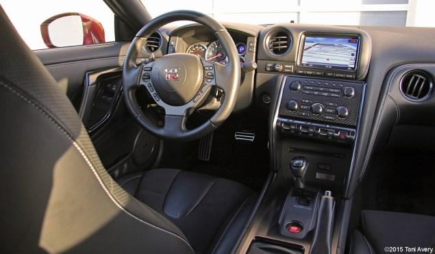 2015 Nissan GT-R interior from rear