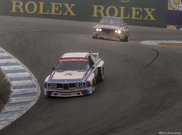 Rolex Monterey Motorsports Reunion BMW 3.0s on corkscrew