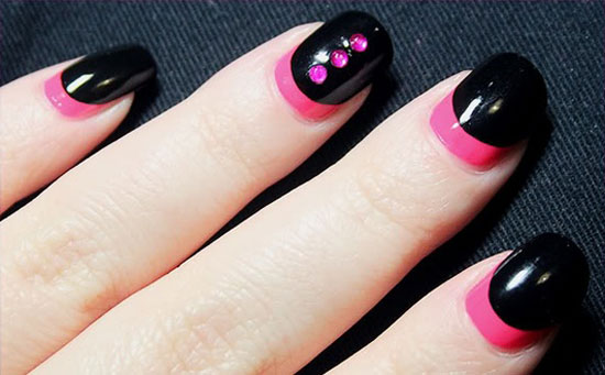 Random Shapes Black And Clear Polish Design Draw Various Designs Such As Lines