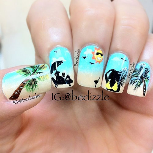 Sunflowers Are Also In This Summer Coat Your Nails With Awesome Bination Of Blue