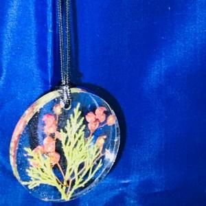 flowering juniper resin pendant