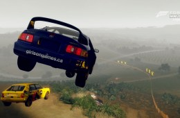 Big air during a rally race in FH2 Storm Island