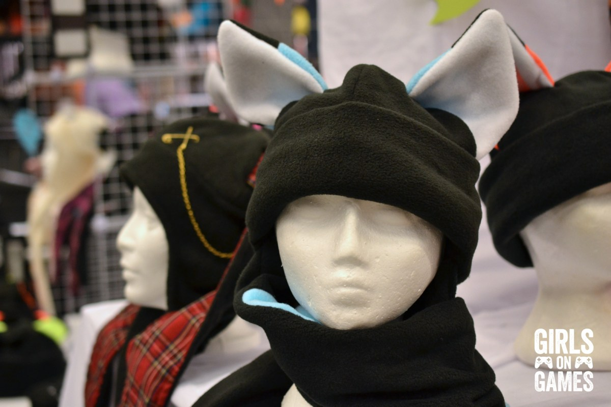 Toques for sale at vendor's booth on the Otakuthon 2015 convention floor.