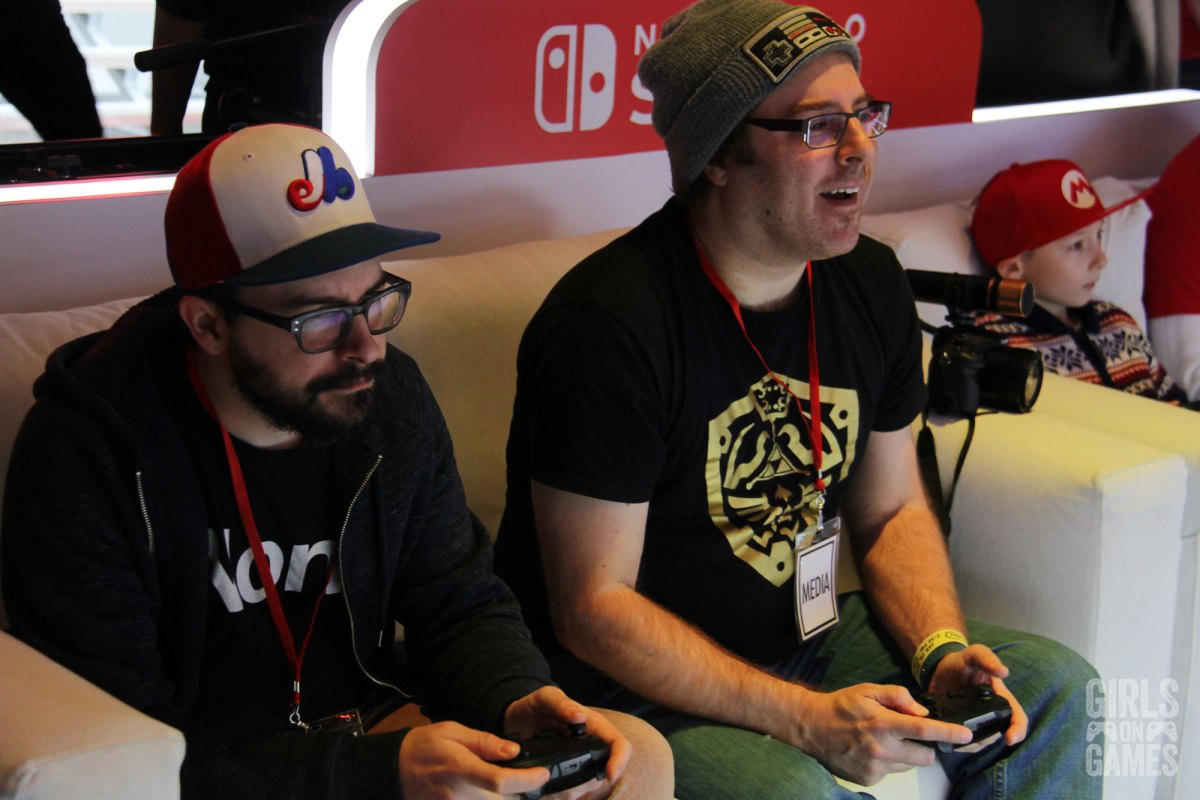 Laurent LaSalle and Guiz de Pessemier of Le Jeu, C'est Sérieux playing at the Nintendo Switch event in Toronto. Photo: Leah Jewer / Girls on Games