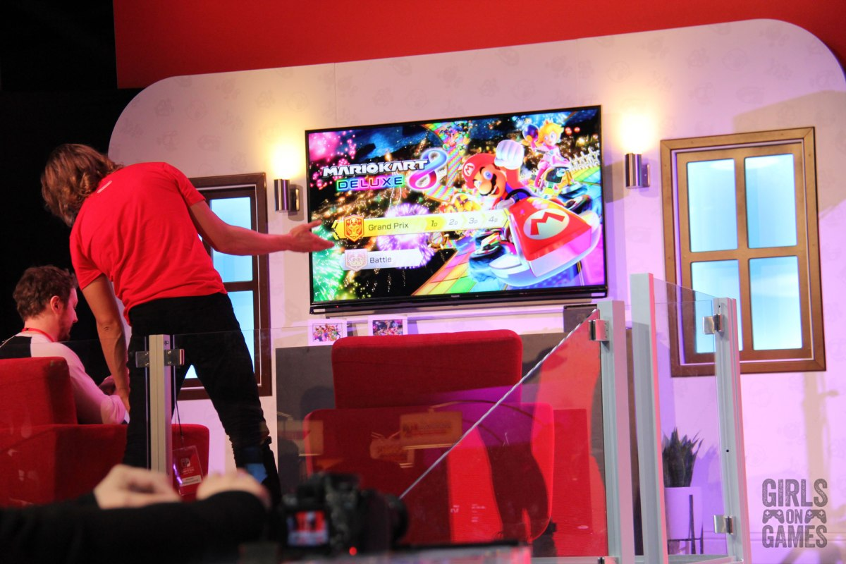 Mario Kart 8 Deluxe living room setup at the Nintendo Switch event in Toronto. Photo: Leah Jewer / Girls on Games