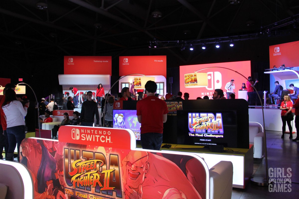 Show floor at the Nintendo Switch event in Toronto. Photo: Leah Jewer / Girls on Games