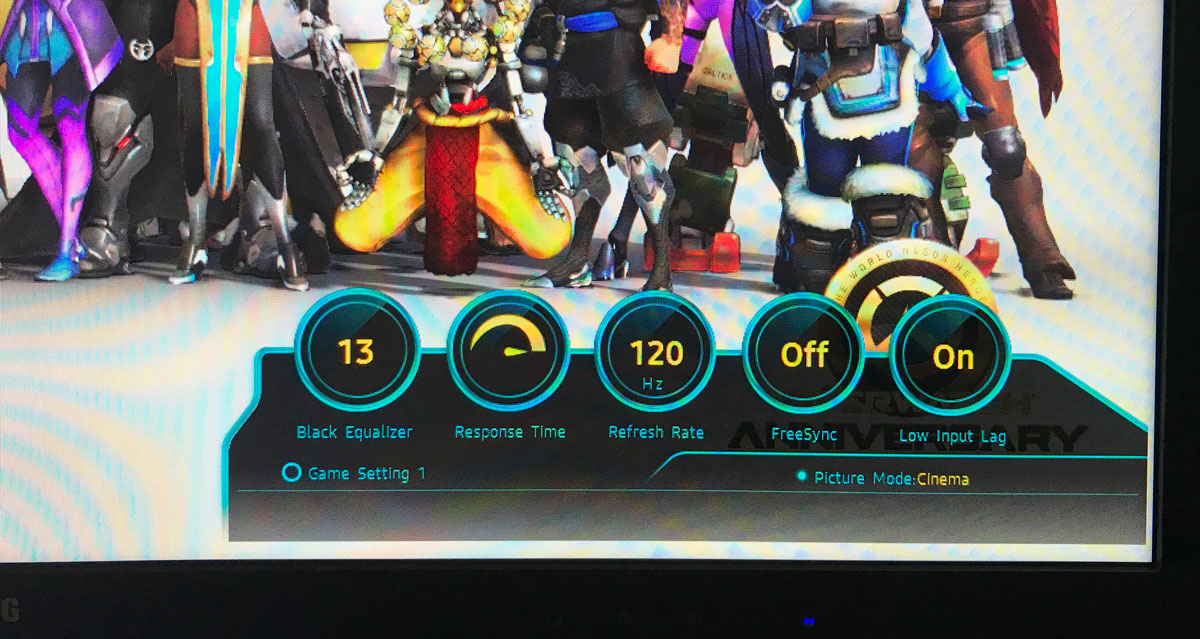 """Display mode UI on Samsung 24"""" CFG70. Photo by Leah Jewer / Girls on Games"""