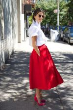 white shirt, red skirt, pink shoes