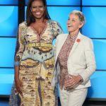 Michelle Obama, Gucci Dress, map dress, Ellen Degeneres Show