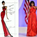 Michelle Obama, Jason Wu dress, red dress, Inaugural ball, designer sketch