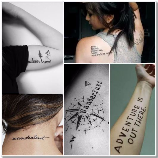 100 Amazing- and inspirational travel tattoos! Words and Sentences Collage 4 #travel #tattoo #traveltattoo #girlswanderlust #wanderlust