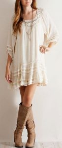 Boho Dress And Brown Boots