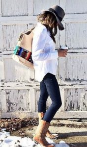 White Button Down And Cowboy Boots