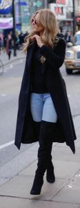 Long Black Coat And Black Thigh Boots