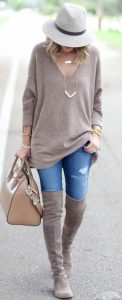 Long Sleeves And Gray Boots