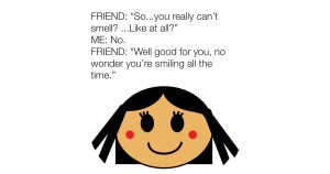 Girl Who Can't Smell Smiling Meme For Facebook