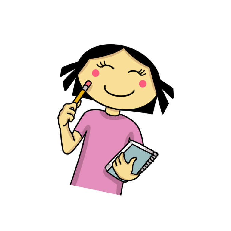 picture of The Girl Who Cant Smell with a notebook and pencil