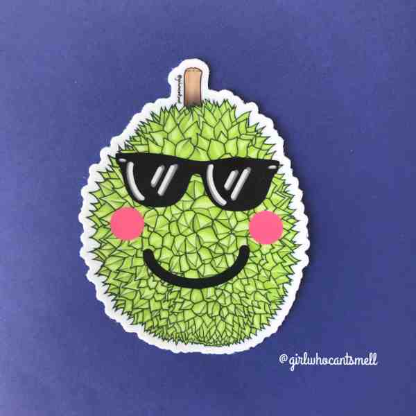 Durian Sticker For Sale By The Girl Who Cant Smell Purple Background