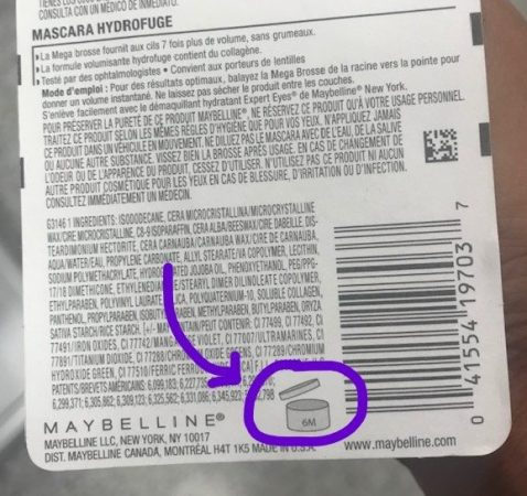 picture of mascara packaging with a PAO Label