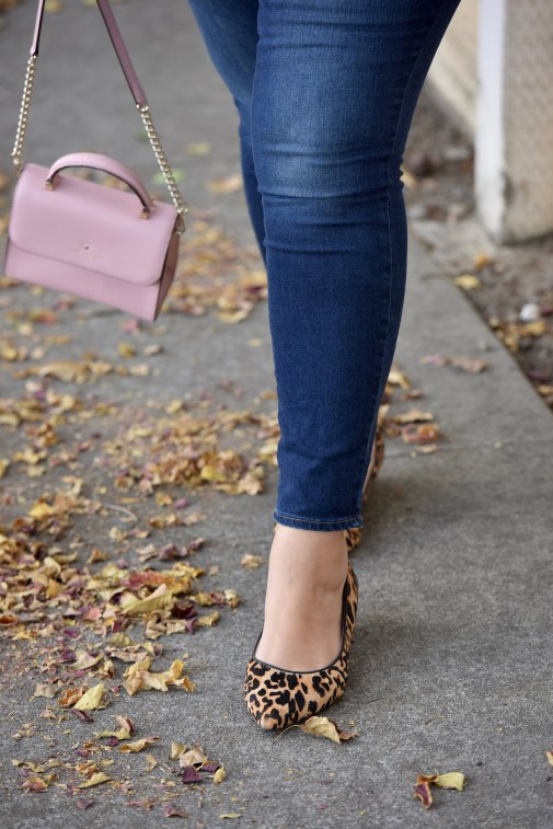 Girl With Curves blogger Tanesha Awasthi wears skinny jeans, a pink bag and leopard flats.