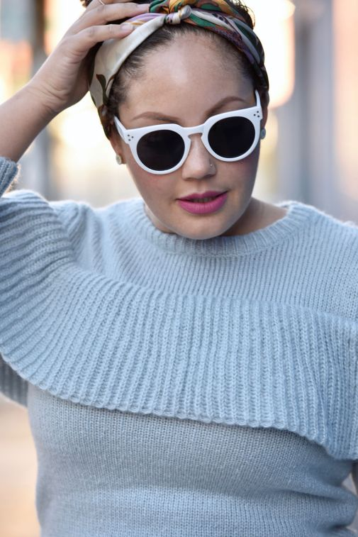 Girl With Curves featuring a ruffle sweater from Asos and white sunglasses.