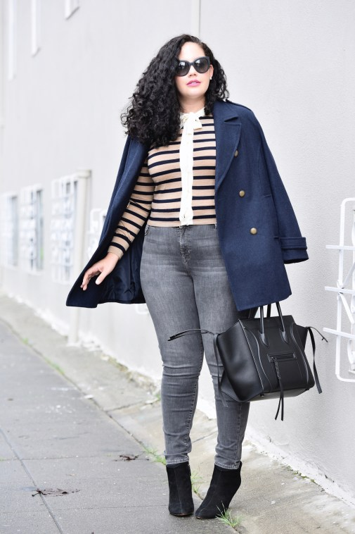 Girl With Curves featuring Navy Peacoat from Old Navy, Cardigan from J Crew, Gray Jeans from Old Navy, Phantom handbag from Celine, shoes from Nine West, and cat eye sunglasses from Chanel.