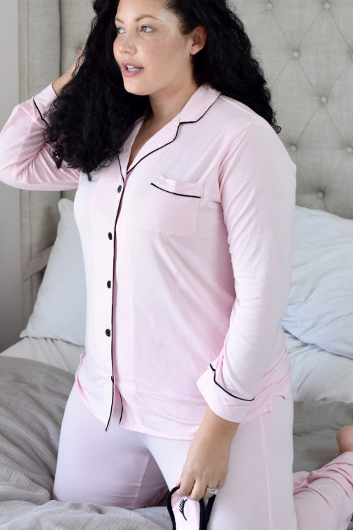 Girl With Curves featuring a Pink plus size pajama set from Nordstrom