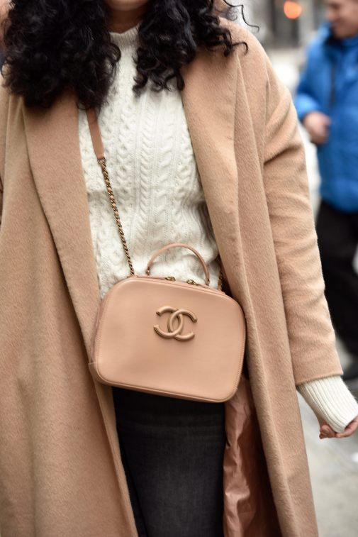 Girl with Curves featuring a camel coat from Asos, white sweater from Asos, and handbag from chanel