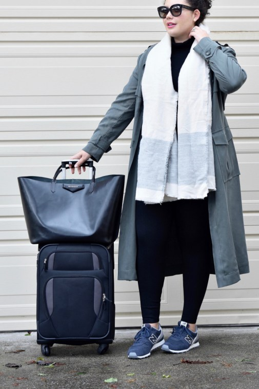 Girl With Curves featuring Trench coat from Asos, Turtleneck from Forever 21, Scarf from Zara, Shoes from New Balance, leggings from Lysse,Sunglasses from Celine, and handbag from Givenchy
