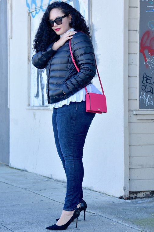 Featuring a puffer jacket from Ralph Lauren, Top from Eloquii, Rockstar Jeans from Old Navy, bag from Kate Spade, Lipstick from Mac, and shoes from Enzo Angiolini