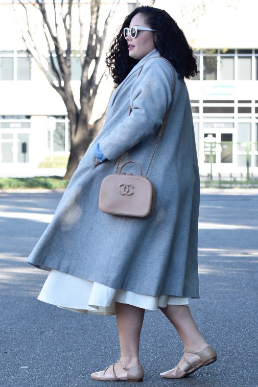 Girl With Curves featuring a grey trapeze coat from Asos, White Midi Skirt from Asos, Flats from Sole Society and Chanel Bag.