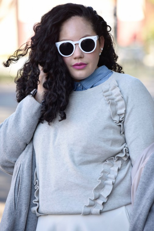 Girl With Curves featuring a Ruffle Sweater from Asos, white sunglasses from Asos and double pearl earrings from ShopBop.