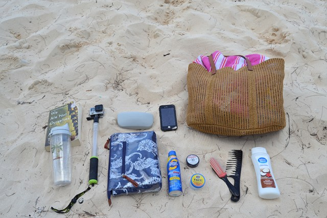 Beach bag essentials-flat lay