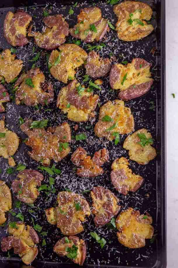 Garlic Parmesan Smashed Potatoes with parsley