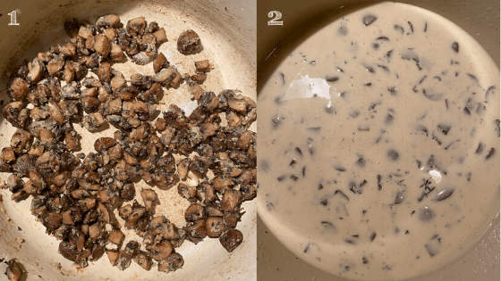 mushroom sauce steps in a dutch oven