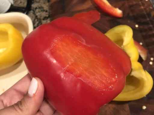red bell pepper with a flat section shaved into the back for stability