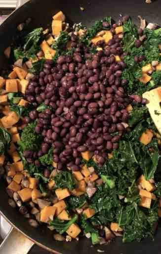enchilada stuffing kale sweet potato beans mushrooms