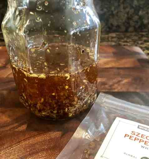 Szechuan chili oil in a mason jar