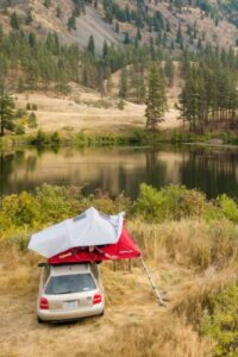 Camping is so much easier with a nifty, roof top tent like this!