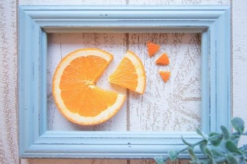 「オレンジ」「オレンジデー」「カフェ」「スイーツ」「フレーム」「果物」「食べ物」などがテーマのフリー写真画像