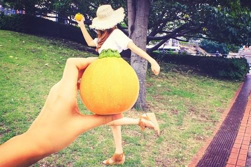 「Tシャツ」「ズッキーニ」「フォトべジック」「やさいドレス」「公園」「野菜」「野菜アート」「食べ物」「麦わら帽子」などがテーマのフリー写真画像